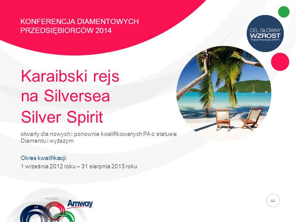 44 KONFERENCJA DIAMENTOWYCH PRZEDSIĘBIORCÓW 2014 Karaibski rejs na Silversea Silver Spirit otwarty dla nowych i ponownie kwalifikowanych PA o statusie Diamentu i wyższym Okres kwalifikacji: 1 września 2012 roku – 31 sierpnia 2013 roku