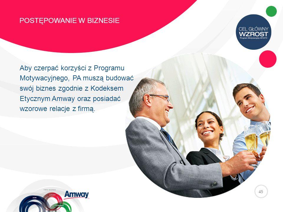 45 POSTĘPOWANIE W BIZNESIE Aby czerpać korzyści z Programu Motywacyjnego, PA muszą budować swój biznes zgodnie z Kodeksem Etycznym Amway oraz posiadać wzorowe relacje z firmą.