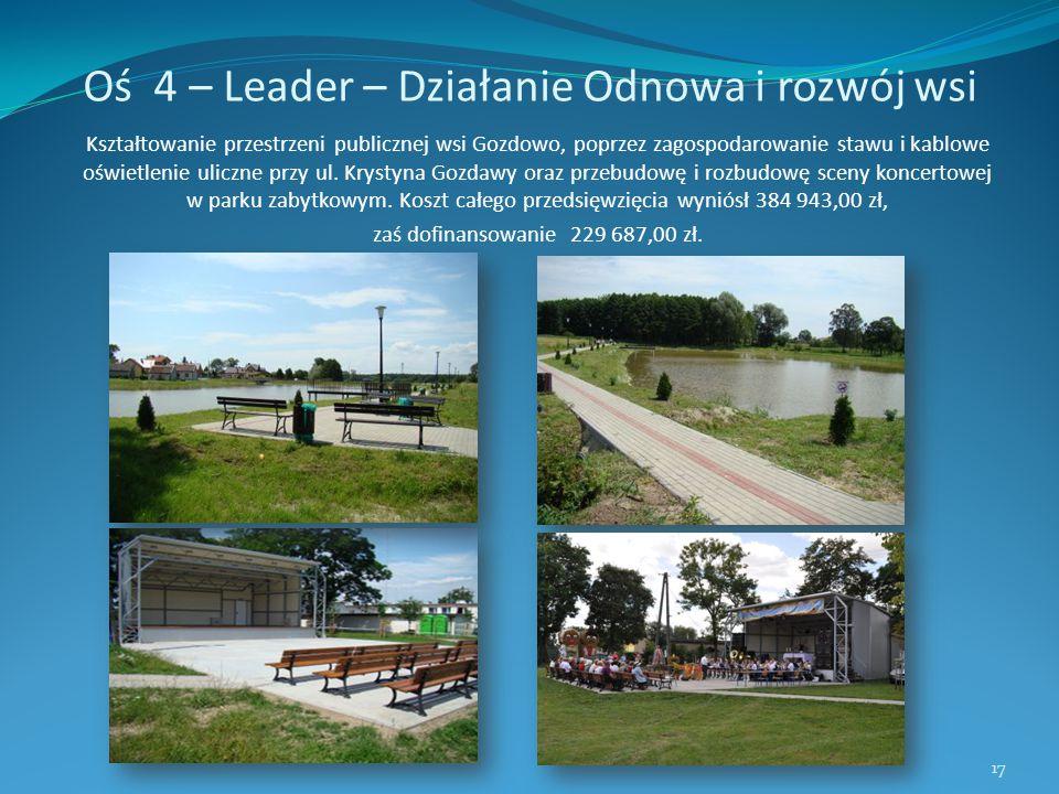Oś 4 – Leader – Działanie Odnowa i rozwój wsi Kształtowanie przestrzeni publicznej wsi Gozdowo, poprzez zagospodarowanie stawu i kablowe oświetlenie u