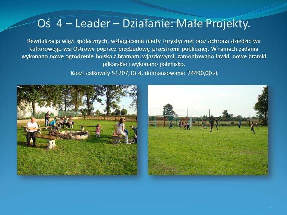 Oś 4 – Leader – Działanie: Małe Projekty. Rewitalizacja więzi społecznych, wzbogacenie oferty turystycznej oraz ochrona dziedzictwa kulturowego wsi Os