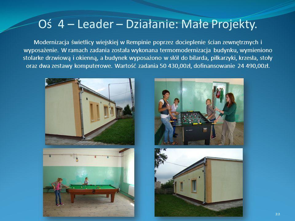 Oś 4 – Leader – Działanie: Małe Projekty. Modernizacja świetlicy wiejskiej w Rempinie poprzez docieplenie ścian zewnętrznych i wyposażenie. W ramach z