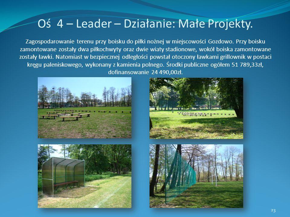 Oś 4 – Leader – Działanie: Małe Projekty. Zagospodarowanie terenu przy boisku do piłki nożnej w miejscowości Gozdowo. Przy boisku zamontowane zostały