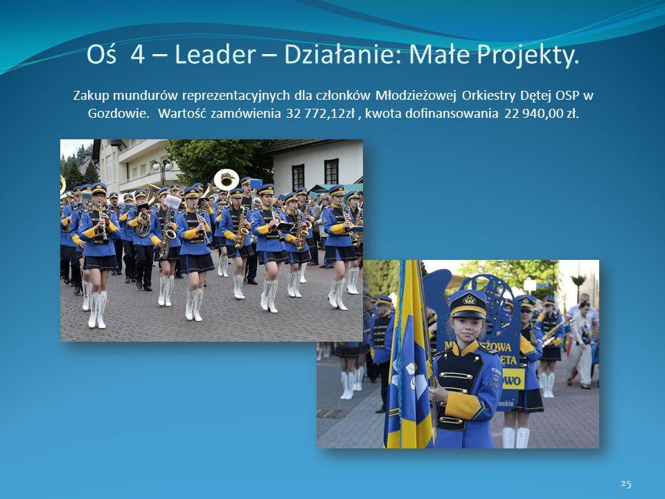 Oś 4 – Leader – Działanie: Małe Projekty. Zakup mundurów reprezentacyjnych dla członków Młodzieżowej Orkiestry Dętej OSP w Gozdowie. Wartość zamówieni