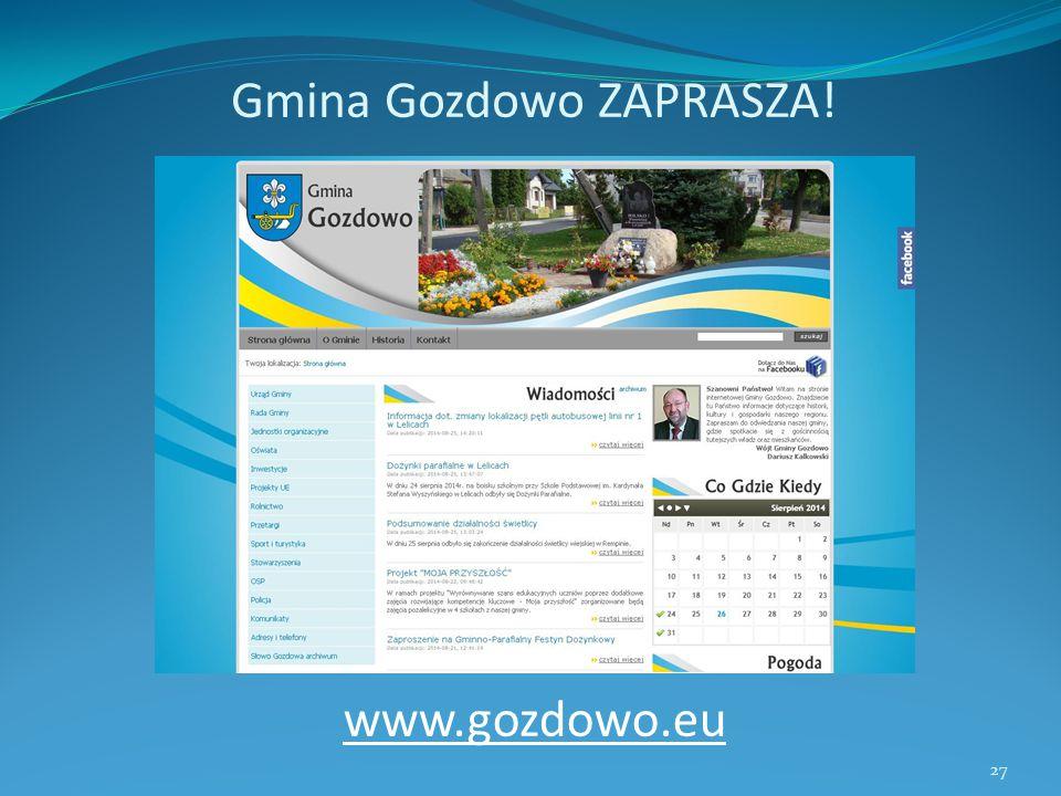 Gmina Gozdowo ZAPRASZA! www.gozdowo.eu 27