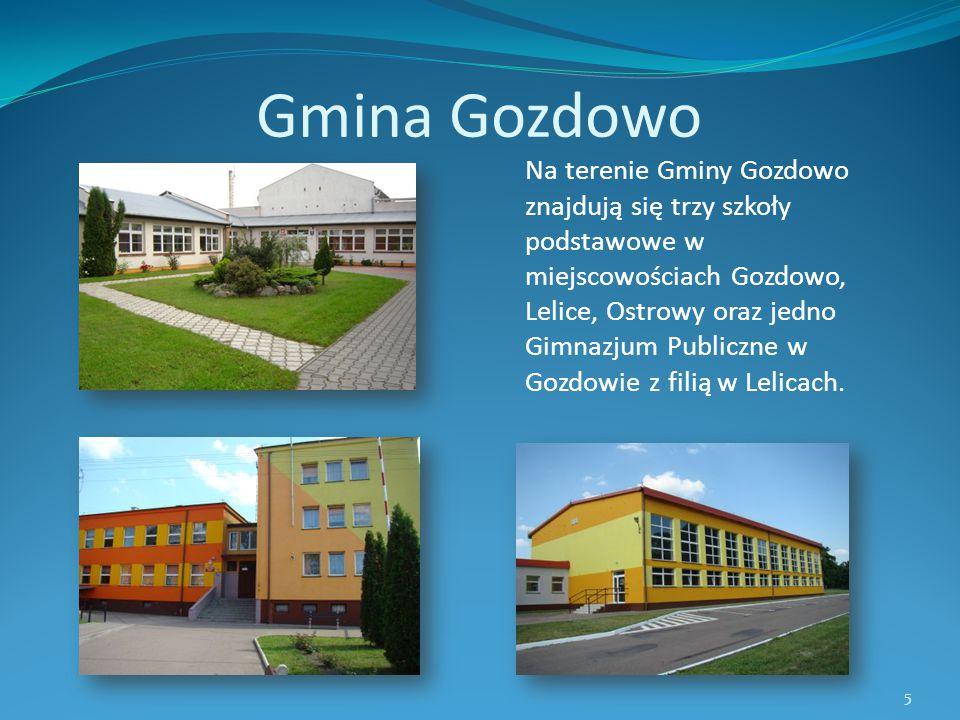 Gmina Gozdowo Na terenie Gminy Gozdowo znajdują się trzy szkoły podstawowe w miejscowościach Gozdowo, Lelice, Ostrowy oraz jedno Gimnazjum Publiczne w