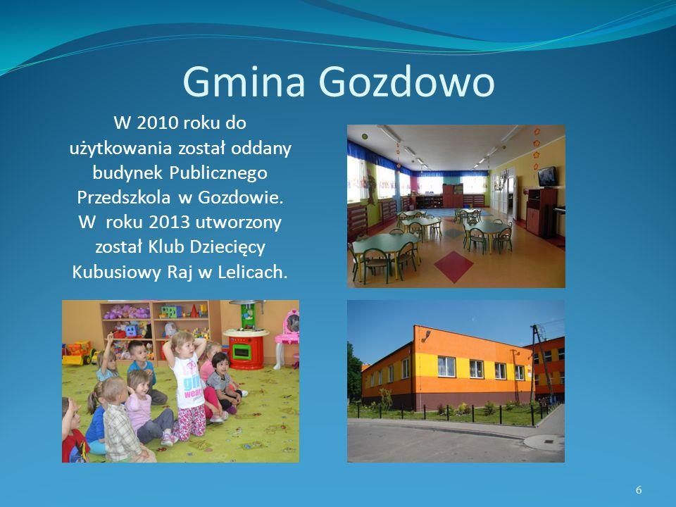 Gmina Gozdowo W 2010 roku do użytkowania został oddany budynek Publicznego Przedszkola w Gozdowie. W roku 2013 utworzony został Klub Dziecięcy Kubusio