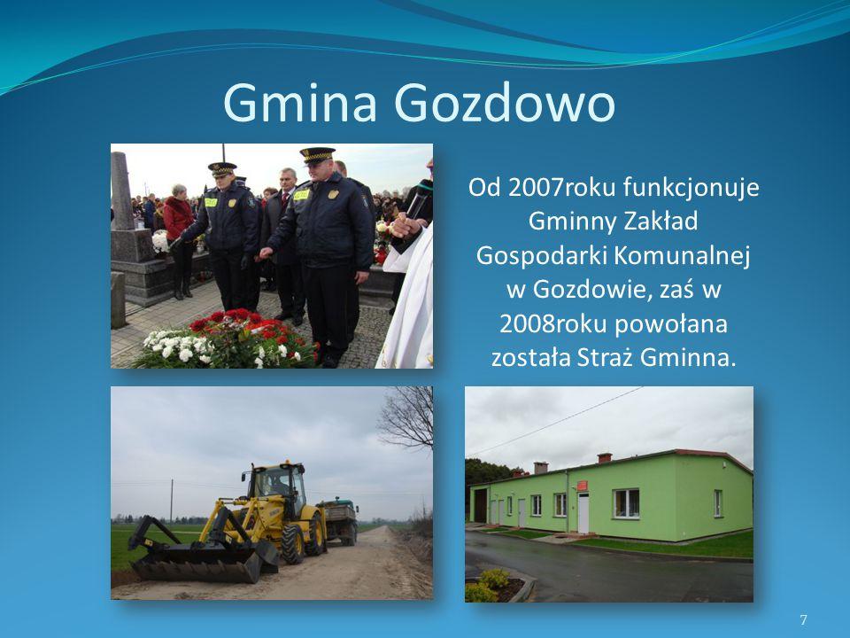 Gmina Gozdowo Od 2007roku funkcjonuje Gminny Zakład Gospodarki Komunalnej w Gozdowie, zaś w 2008roku powołana została Straż Gminna. 7