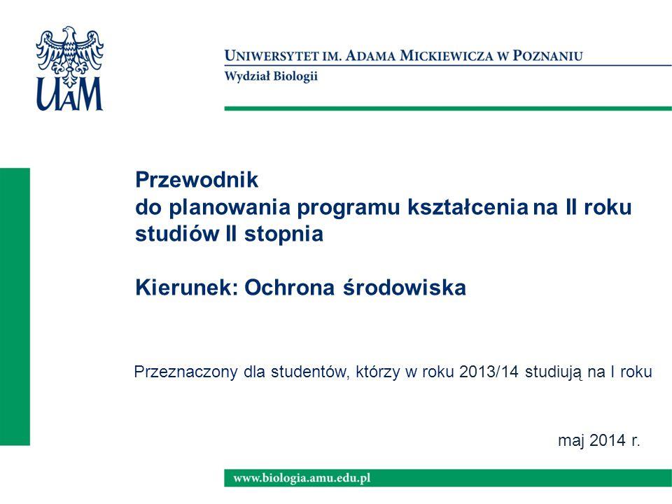 maj 2014 r. Przewodnik do planowania programu kształcenia na II roku studiów II stopnia Kierunek: Ochrona środowiska Przeznaczony dla studentów, którz
