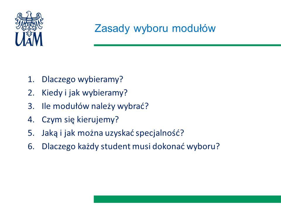 Zasady wyboru modułów 1.Dlaczego wybieramy? 2.Kiedy i jak wybieramy? 3.Ile modułów należy wybrać? 4.Czym się kierujemy? 5.Jaką i jak można uzyskać spe