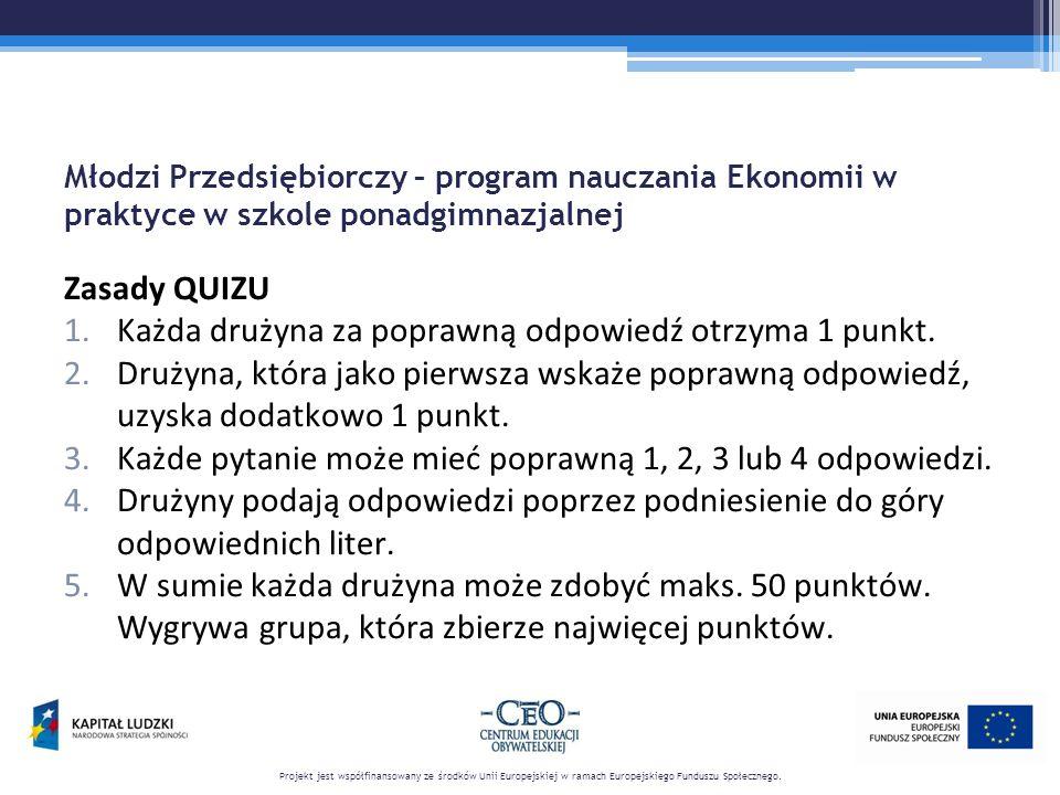 Młodzi Przedsiębiorczy – program nauczania Ekonomii w praktyce w szkole ponadgimnazjalnej Zasady QUIZU 1.Każda drużyna za poprawną odpowiedź otrzyma 1