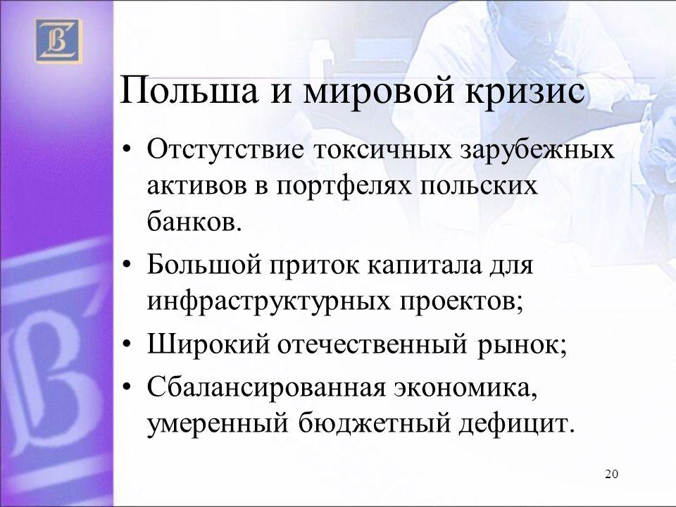 20 Польша и мировой кризис Отстутствие токсичных зарубежных активов в портфелях польских банков.