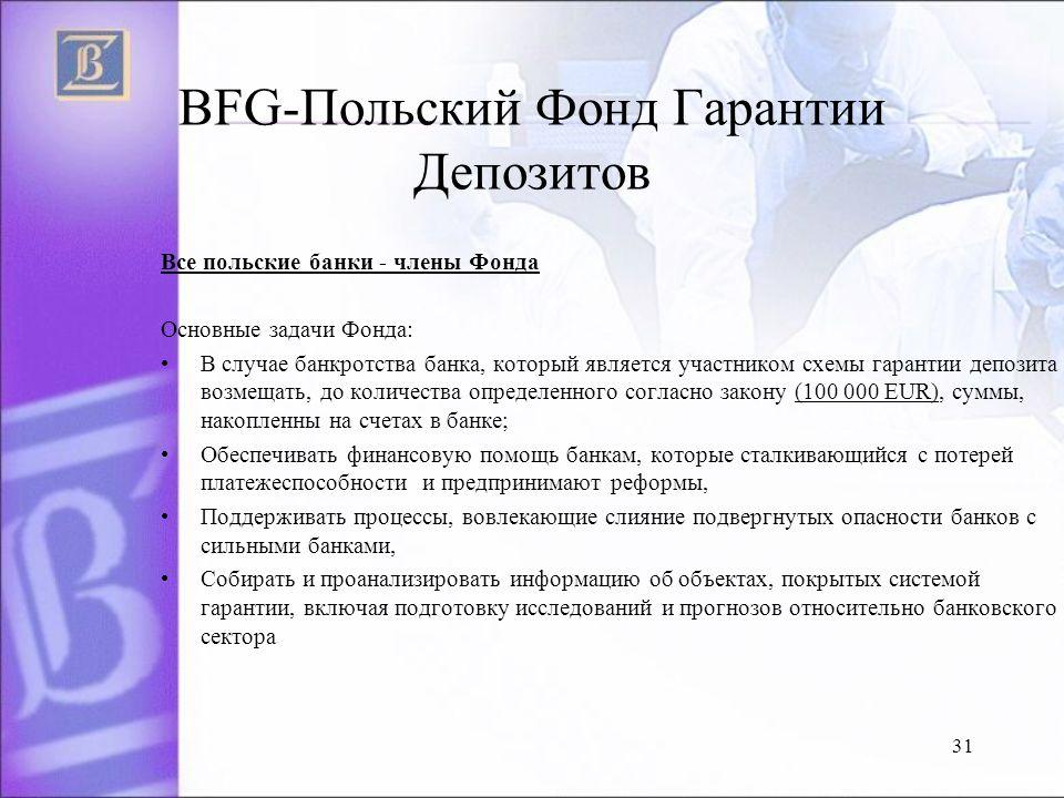 BFG-Польский Фонд Гарантии Депозитов Все польские банки - члены Фонда Основные задачи Фонда: B случае банкротства банка, который является участником схемы гарантии депозита возмещать, до количества определенного согласно закону (100 000 EUR), cyммы, накопленны на счетах в банке; Oбеспечивать финансовую помощь банкам, которые сталкивающийся с потерей платежеспособности и предпринимают реформы, Поддерживать процессы, вовлекающие слияние подвергнутых опасности банков с сильными банками, Cобирать и проанализировать информацию об объектах, покрытых системой гарантии, включая подготовку исследований и прогнозов относительно банковского сектора 31