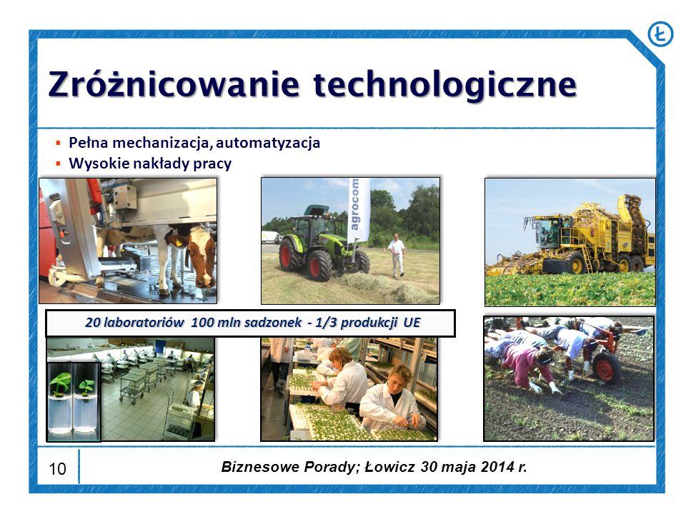 10  Pełna mechanizacja, automatyzacja  Wysokie nakłady pracy 20 laboratoriów 100 mln sadzonek - 1/3 produkcji UE Zró ż nicowanie technologiczne Biznesowe Porady; Łowicz 30 maja 2014 r.