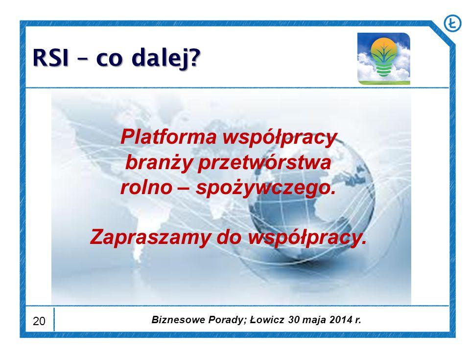 20 RSI – co dalej. Platforma współpracy branży przetwórstwa rolno – spożywczego.