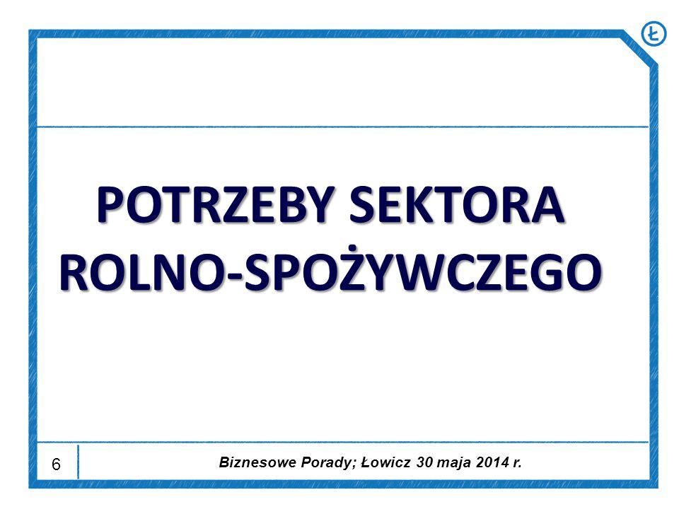 6 POTRZEBY SEKTORA ROLNO-SPOŻYWCZEGO Biznesowe Porady; Łowicz 30 maja 2014 r.