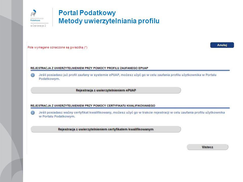 Portal Podatkowy Metody uwierzytelniania profilu e-Deklaracje 2