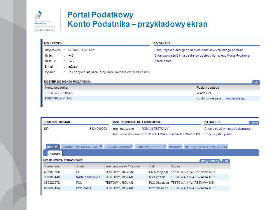 Portal Podatkowy Konto Podatnika – przykładowy ekran e-Deklaracje 2
