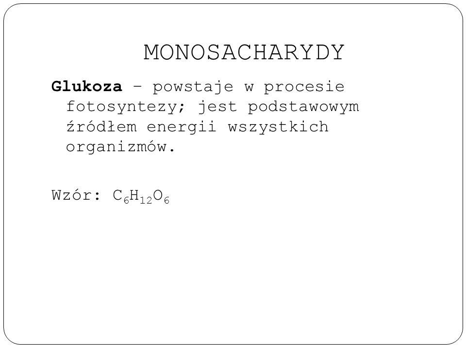 MONOSACHARYDY Glukoza – powstaje w procesie fotosyntezy; jest podstawowym źródłem energii wszystkich organizmów. Wzór: C 6 H 12 O 6