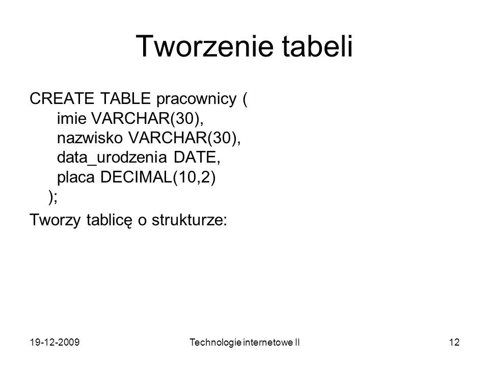 19-12-2009Technologie internetowe II12 Tworzenie tabeli CREATE TABLE pracownicy ( imie VARCHAR(30), nazwisko VARCHAR(30), data_urodzenia DATE, placa D