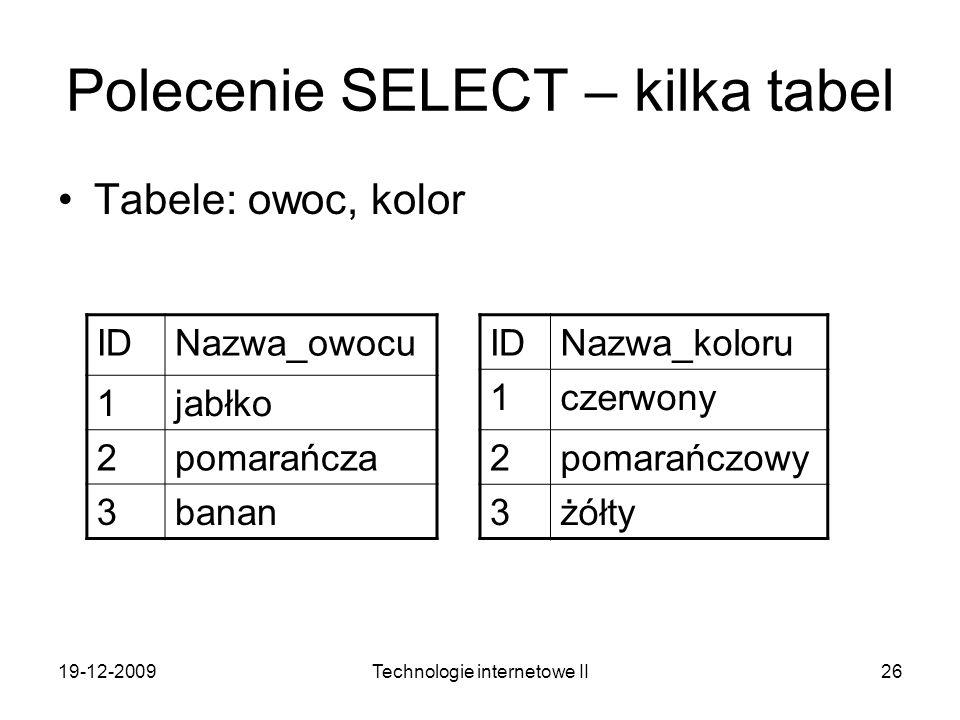 19-12-2009Technologie internetowe II26 Polecenie SELECT – kilka tabel Tabele: owoc, kolor IDNazwa_owocu 1jabłko 2pomarańcza 3banan IDNazwa_koloru 1cze