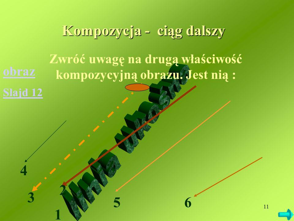 11 Kompozycja - ciąg dalszy Zwróć uwagę na drugą właściwość kompozycyjną obrazu. Jest nią : 1 2 3 4 56 Slajd 12 obraz