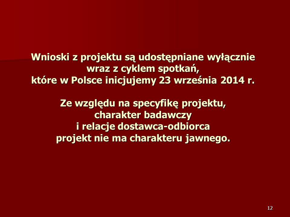 12 Wnioski z projektu są udostępniane wyłącznie wraz z cyklem spotkań, które w Polsce inicjujemy 23 września 2014 r. Ze względu na specyfikę projektu,