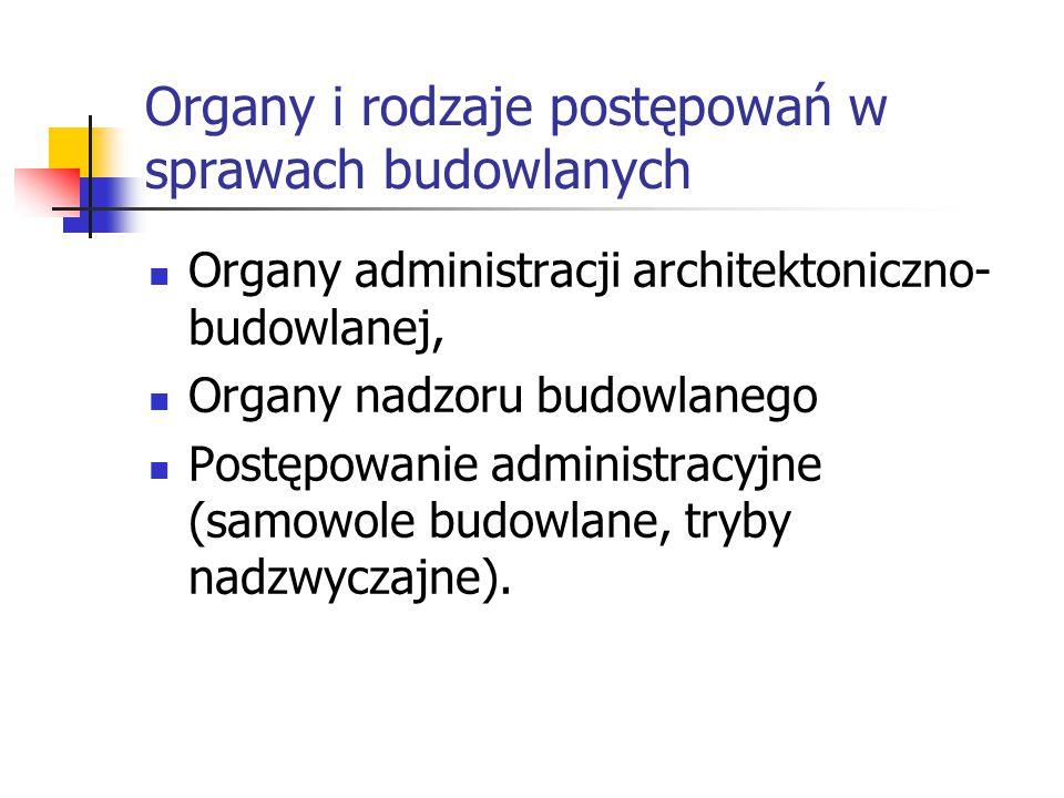 Organy i rodzaje postępowań w sprawach budowlanych Organy administracji architektoniczno- budowlanej, Organy nadzoru budowlanego Postępowanie administ
