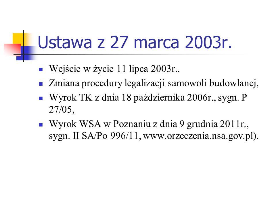 Ustawa z 27 marca 2003r. Wejście w życie 11 lipca 2003r., Zmiana procedury legalizacji samowoli budowlanej, Wyrok TK z dnia 18 października 2006r., sy