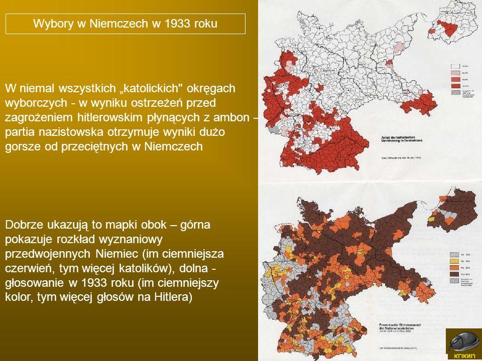Dobrze ukazują to mapki obok – górna pokazuje rozkład wyznaniowy przedwojennych Niemiec (im ciemniejsza czerwień, tym więcej katolików), dolna - głoso