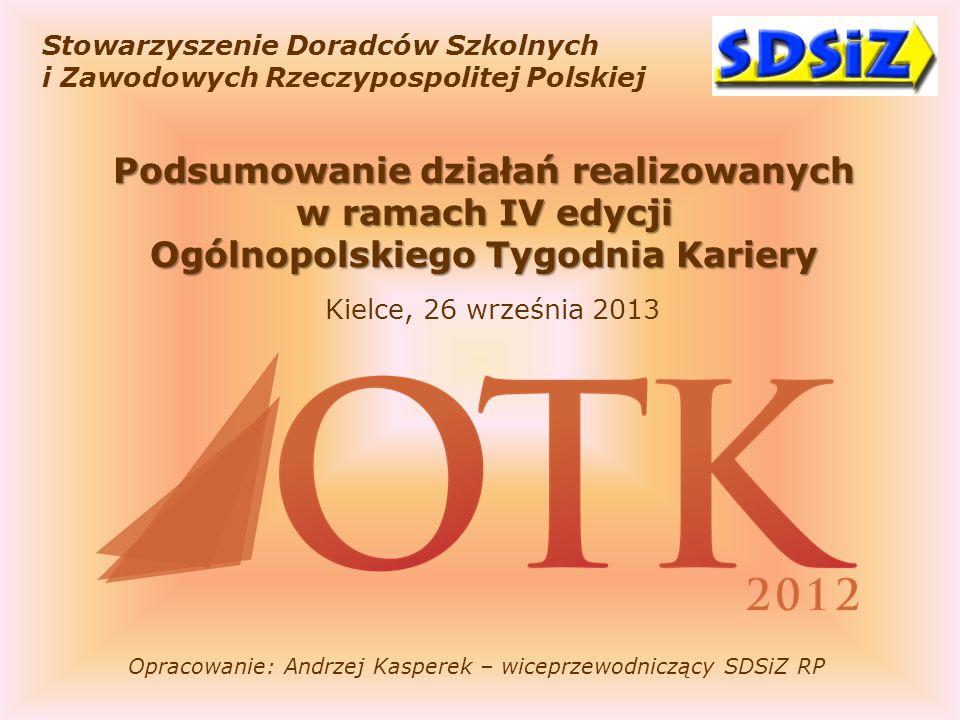Stowarzyszenie Doradców Szkolnych i Zawodowych Rzeczypospolitej Polskiej Podsumowanie działań realizowanych w ramach IV edycji Ogólnopolskiego Tygodni