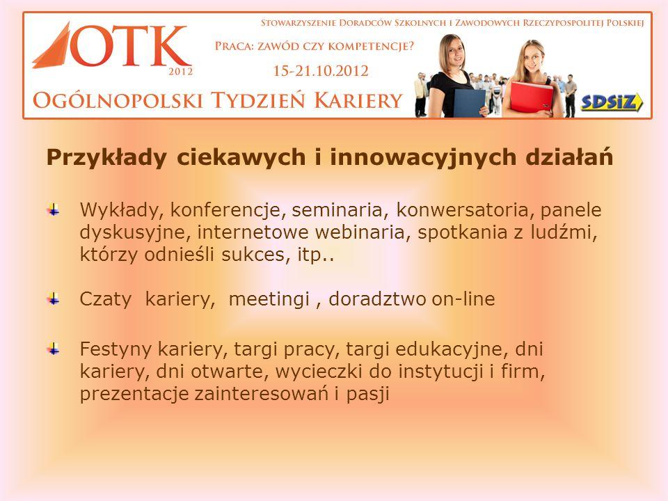Przykłady ciekawych i innowacyjnych działań Wykłady, konferencje, seminaria, konwersatoria, panele dyskusyjne, internetowe webinaria, spotkania z ludź