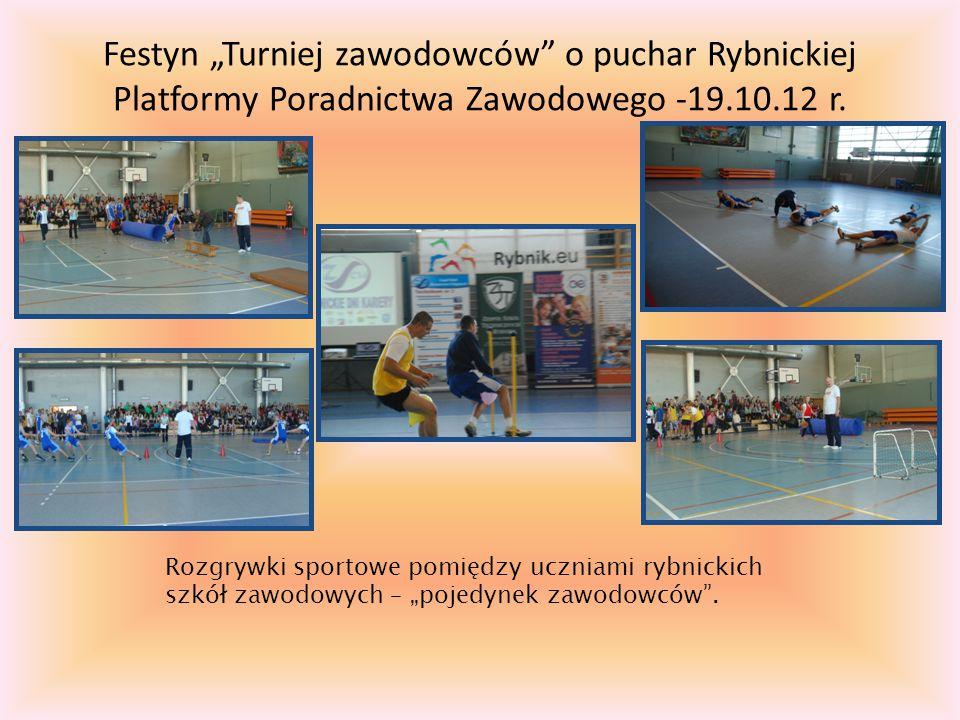 """Festyn """"Turniej zawodowców o puchar Rybnickiej Platformy Poradnictwa Zawodowego -19.10.12 r."""