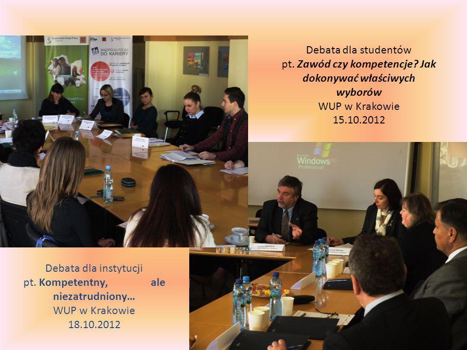 Debata dla studentów pt. Zawód czy kompetencje.
