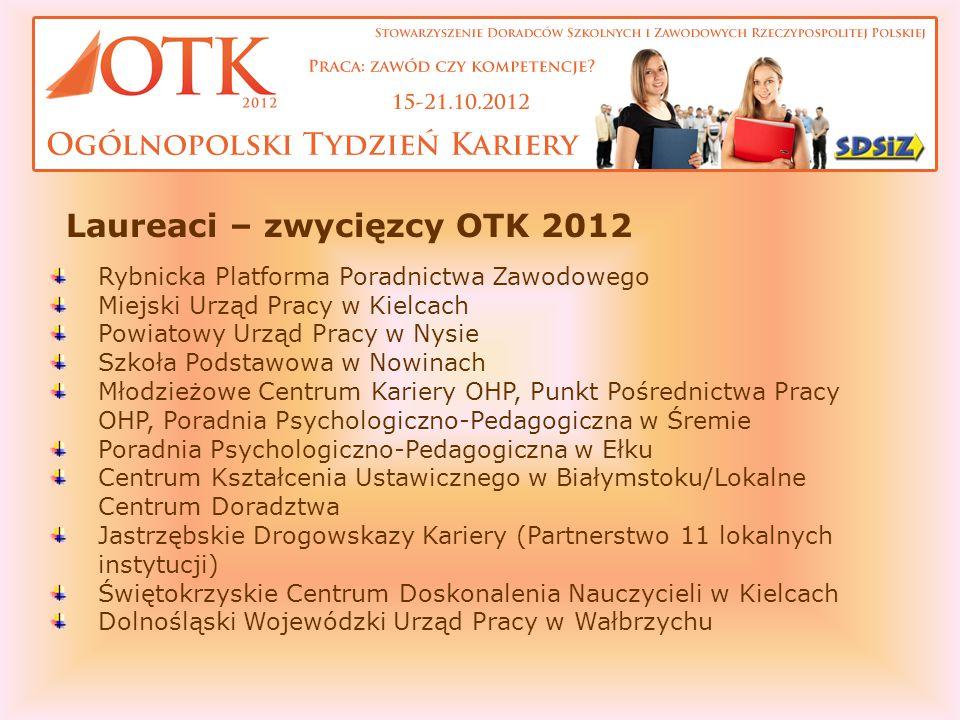 Laureaci – zwycięzcy OTK 2012 Rybnicka Platforma Poradnictwa Zawodowego Miejski Urząd Pracy w Kielcach Powiatowy Urząd Pracy w Nysie Szkoła Podstawowa