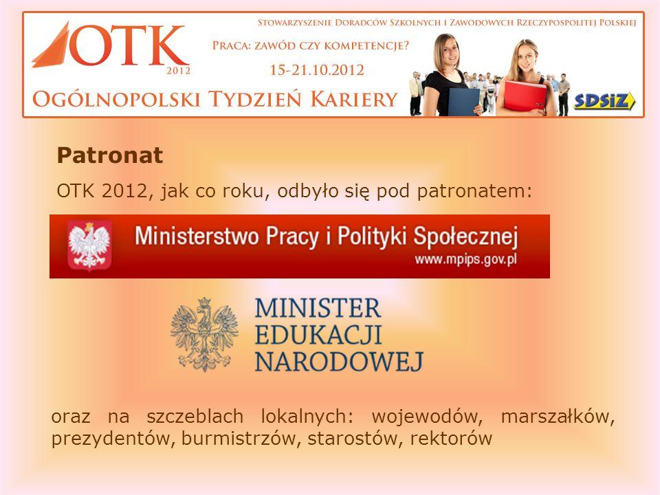 Patronat OTK 2012, jak co roku, odbyło się pod patronatem: oraz na szczeblach lokalnych: wojewodów, marszałków, prezydentów, burmistrzów, starostów, rektorów