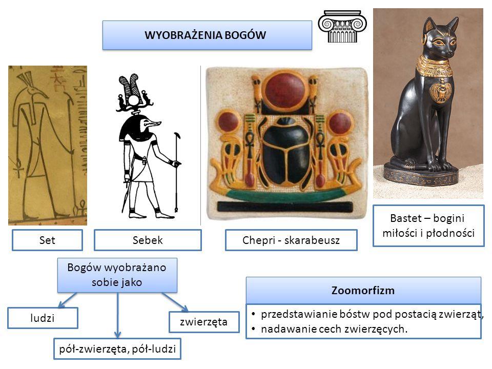 SetChepri - skarabeusz WYOBRAŻENIA BOGÓW Sebek Bastet – bogini miłości i płodności Zoomorfizm Bogów wyobrażano sobie jako ludzi pół-zwierzęta, pół-lud