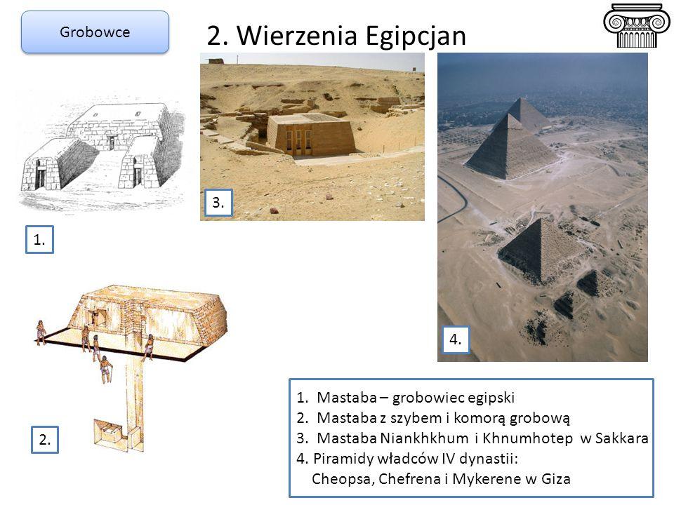 2. Wierzenia Egipcjan 1. Mastaba – grobowiec egipski 2. Mastaba z szybem i komorą grobową 3. Mastaba Niankhkhum i Khnumhotep w Sakkara 4. Piramidy wła