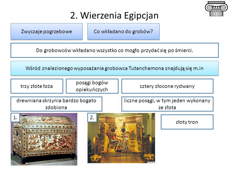 2. Wierzenia Egipcjan Zwyczaje pogrzebowe Do grobowców wkładano wszystko co mogło przydać się po śmierci. Wśród znalezionego wyposażania grobowca Tuta