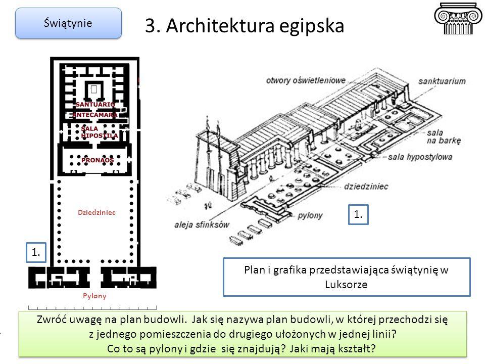 3. Architektura egipska Świątynie Pylony Dziedziniec Plan i grafika przedstawiająca świątynię w Luksorze Zwróć uwagę na plan budowli. Jak się nazywa p
