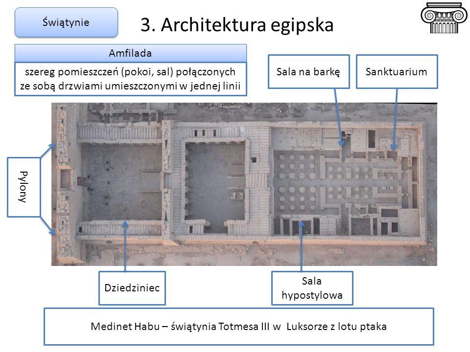 3. Architektura egipska Świątynie Medinet Habu – świątynia Totmesa III w Luksorze z lotu ptaka Pylony Dziedziniec Sala hypostylowa Sala na barkęSanktu