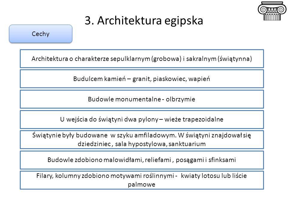 3. Architektura egipska Cechy Budulcem kamień – granit, piaskowiec, wapień Architektura o charakterze sepulklarnym (grobowa) i sakralnym (świątynna) B