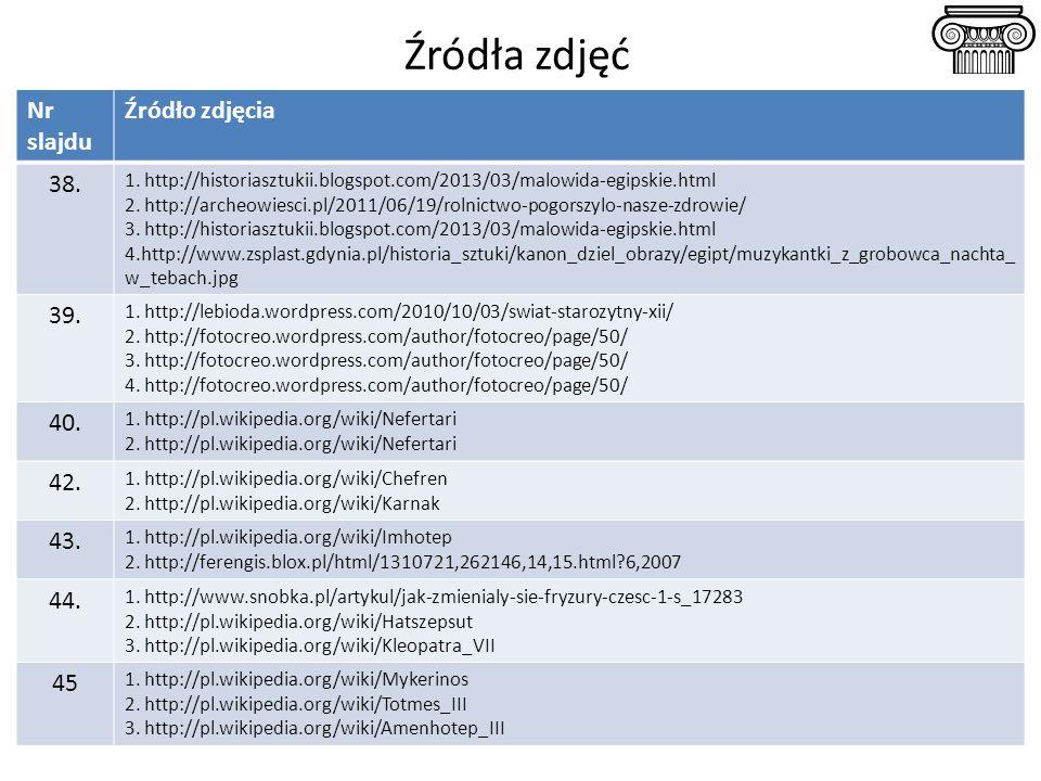 Źródła zdjęć Nr slajdu Źródło zdjęcia 38. 1. http://historiasztukii.blogspot.com/2013/03/malowida-egipskie.html 2. http://archeowiesci.pl/2011/06/19/r