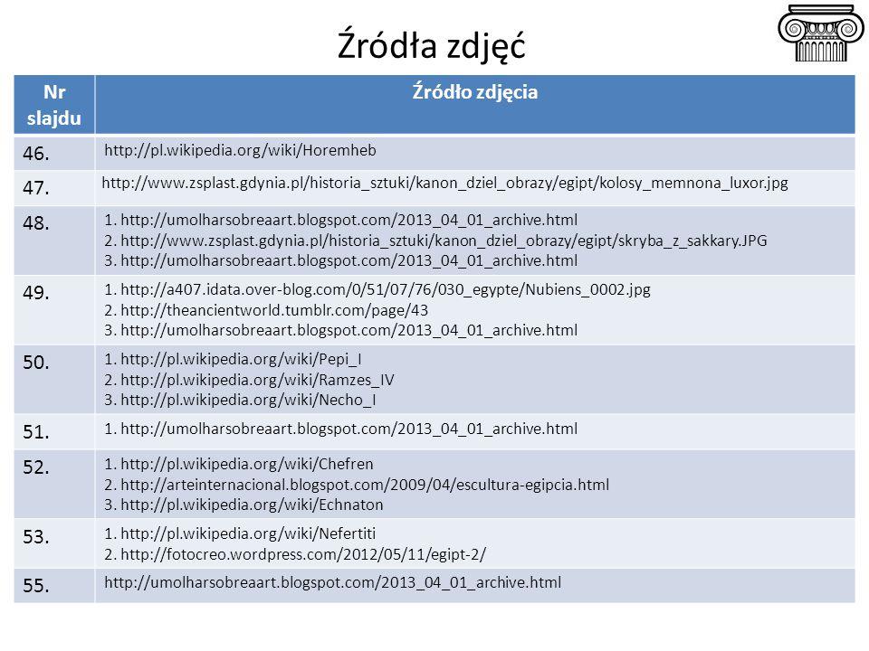 Źródła zdjęć Nr slajdu Źródło zdjęcia 46. http://pl.wikipedia.org/wiki/Horemheb 47. http://www.zsplast.gdynia.pl/historia_sztuki/kanon_dziel_obrazy/eg