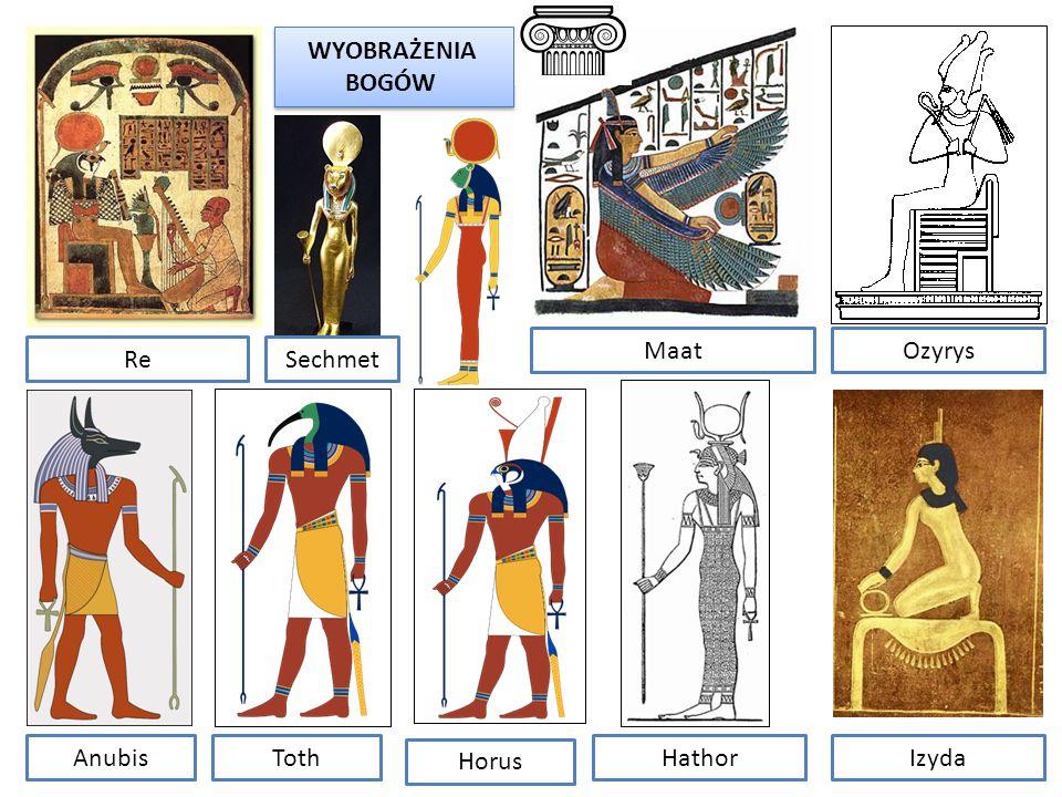 WYOBRAŻENIA BOGÓW WYOBRAŻENIA BOGÓW Re AnubisToth Ozyrys Izyda Maat Hathor Sechmet Horus