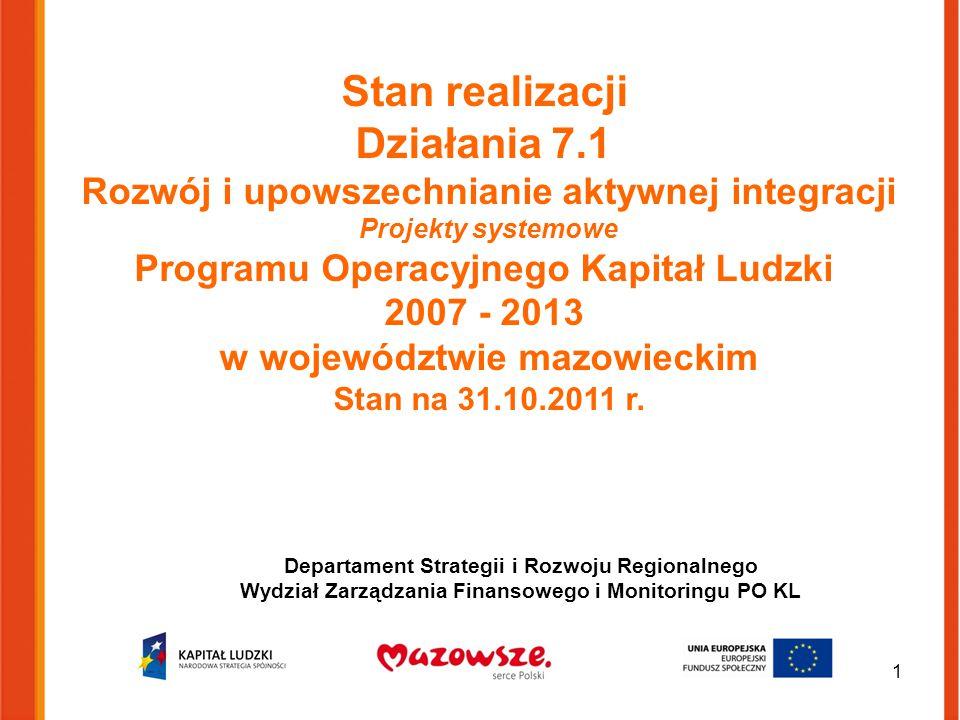 Stan realizacji Działania 7.1 Rozwój i upowszechnianie aktywnej integracji Projekty systemowe Programu Operacyjnego Kapitał Ludzki 2007 - 2013 w województwie mazowieckim Stan na 31.10.2011 r.