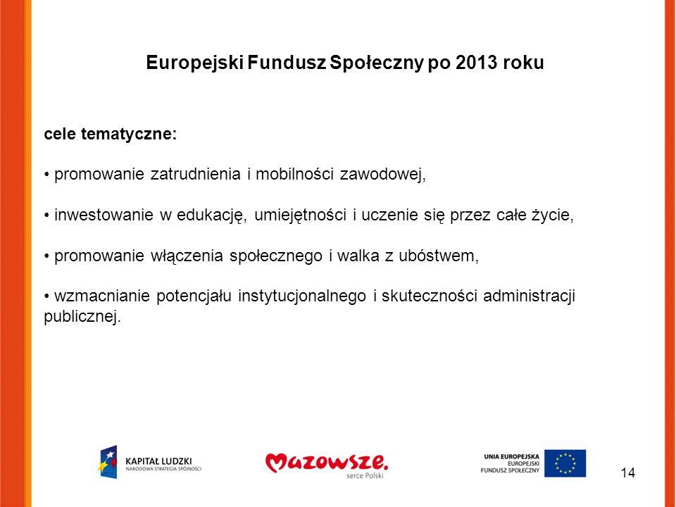 Europejski Fundusz Społeczny po 2013 roku cele tematyczne: promowanie zatrudnienia i mobilności zawodowej, inwestowanie w edukację, umiejętności i uczenie się przez całe życie, promowanie włączenia społecznego i walka z ubóstwem, wzmacnianie potencjału instytucjonalnego i skuteczności administracji publicznej.