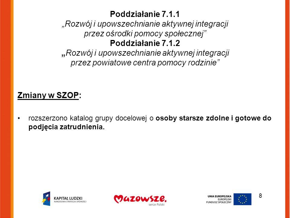 """Poddziałanie 7.1.1 """"Rozwój i upowszechnianie aktywnej integracji przez ośrodki pomocy społecznej"""" Poddziałanie 7.1.2 """"Rozwój i upowszechnianie aktywne"""