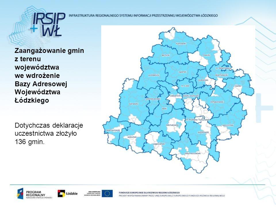 Zaangażowanie gmin z terenu województwa we wdrożenie Bazy Adresowej Województwa Łódzkiego Dotychczas deklaracje uczestnictwa złożyło 136 gmin.