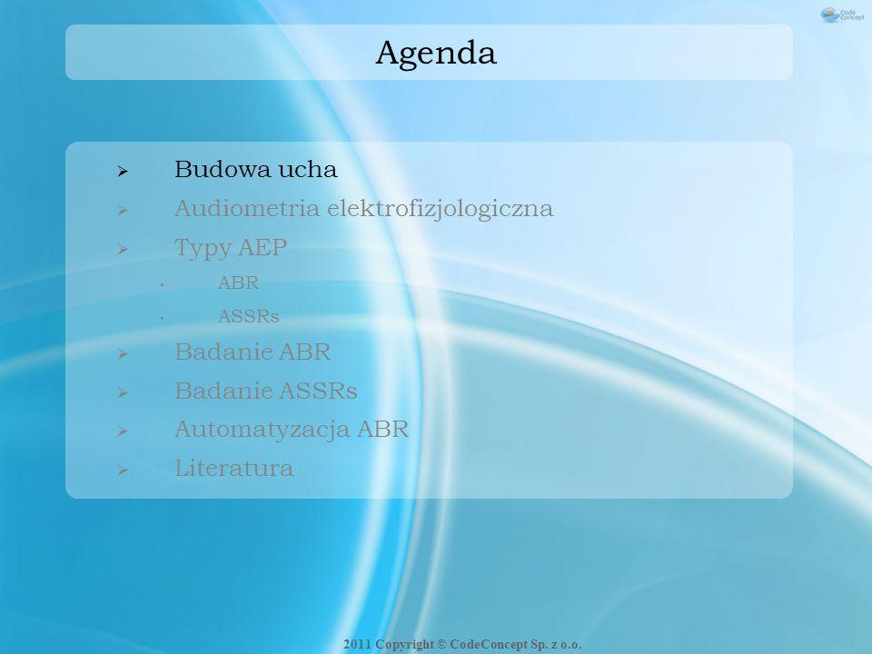 Agenda  Budowa ucha  Audiometria elektrofizjologiczna  Typy AEP ABR ASSRs  Badanie ABR  Badanie ASSRs  Automatyzacja ABR  Literatura 2011 Copyr