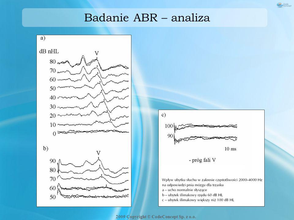 Badanie ABR – analiza 2009 Copyright © CodeConcept Sp. z o.o.